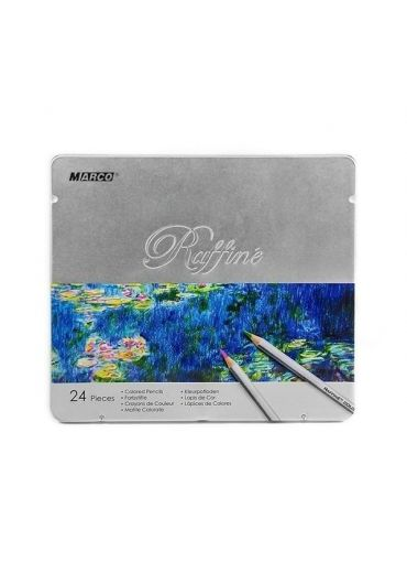 Creioane 24 culori cutie metalica Marco Raffine 7100
