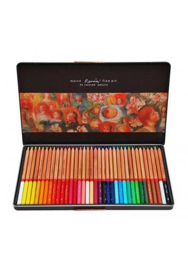 Creioane 36 culori caseta metalica Marco FineArt
