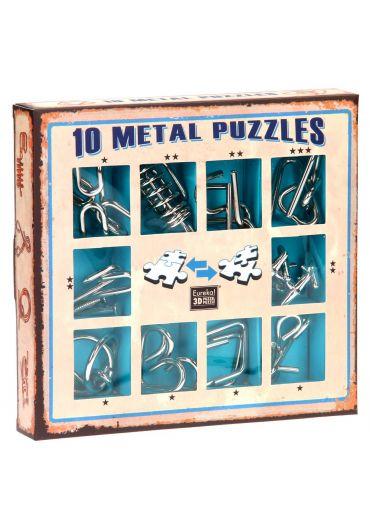 Set 10 Puzzle-uri metalice Albastru