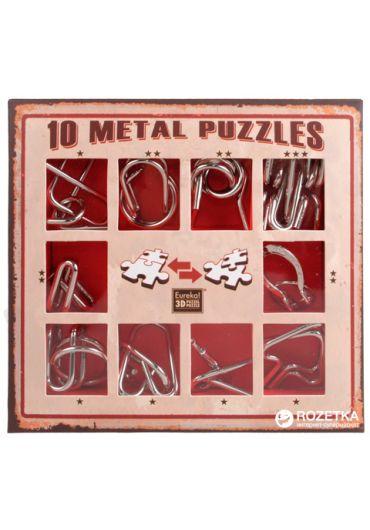 Set 10 Puzzle-uri metalice Rosu
