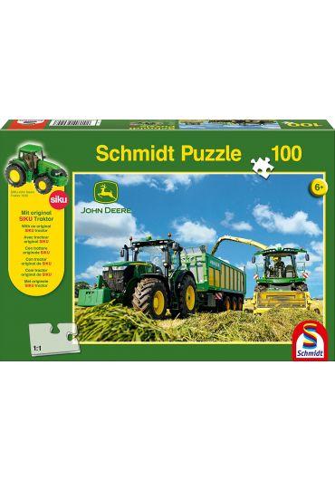 Puzzle 100 piese Tractor si masina de recoltat furaje