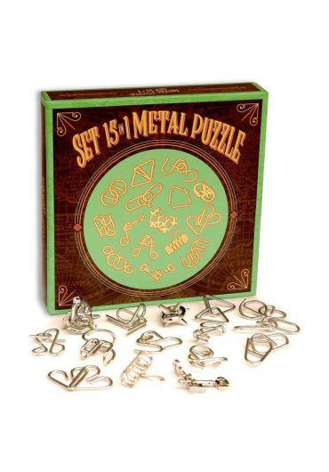 Puzzle Metalic - Set 15 in 1 Green Metal Puzzle