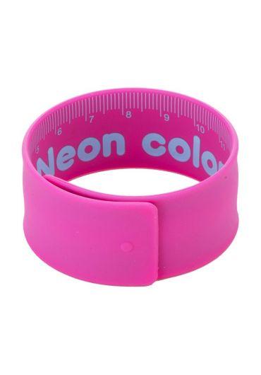 Rigla flexibila 18 cm otel si cauciuc roz