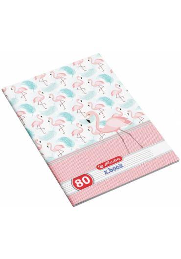 Caiet A4 80 file dictando, motiv Flamingo