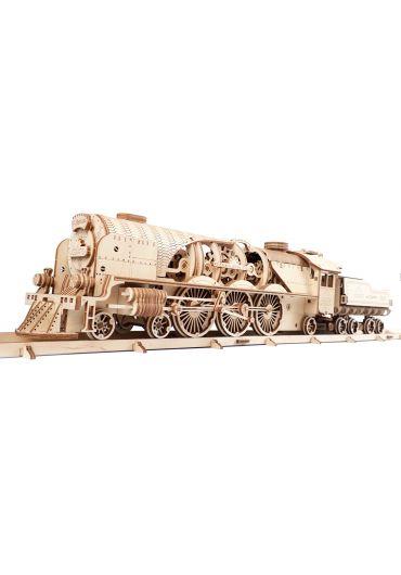 Puzzle 3D lemn - Tren V-Express cu abur