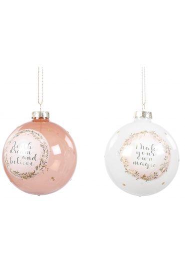 Decoratiune brad - Xmas bauble glass white & pink
