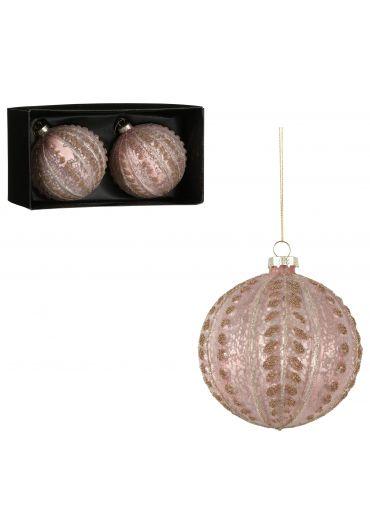 Set 2 decoratiuni brad - Xmas bauble glass pink