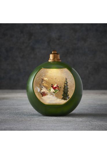 Xmas waterglobe Santa acrylic green, warm white led