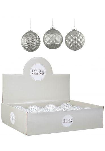 Decoratiune brad - Xmas bauble glass white