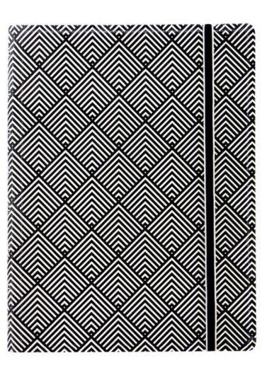 Notebook A5 Impressions cu elastic, spirala si rezerve - Black & White