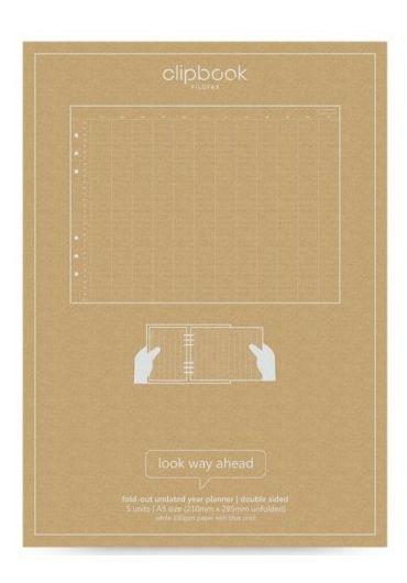 Rezerva hartie Notebook A5 Fold-out Year Planner - Undated Pastel