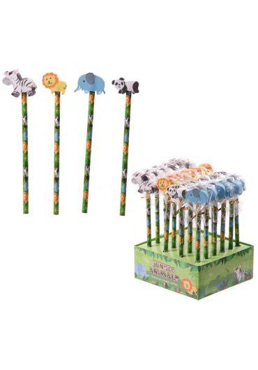 Creion - Jungle Animal Pencils - Elephant, Panda, Lion, Zebra