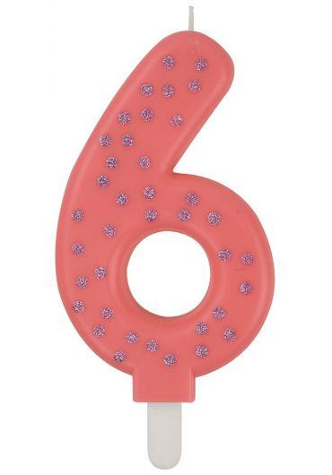 Lumanare aniversara Maxi - Cifra 6 - Pink