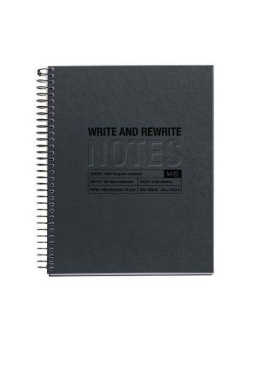 Caiet A5 120 file dictando reciclat Black