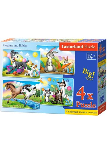 Puzzle 4 in 1 (8+12+15+20 piese) Mothers and Babies