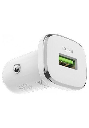 Set Incarcator Auto Borofone BZ12A 1xUSB+Cablu Date Micro Usb 1m Alb