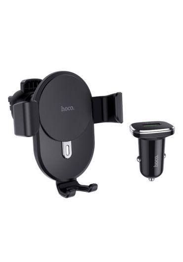 Set Suport Auto Wireless + Incarcator Auto, Hoco CW25 Negru