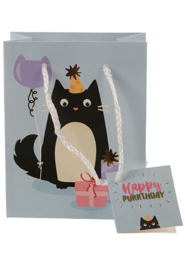 Punga cadou mica - Happy Purrthday Feline Fine Cat
