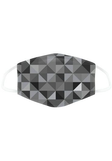 Masca de protectie reutilizabila - Geometric Black & Grey Triangles Print Large