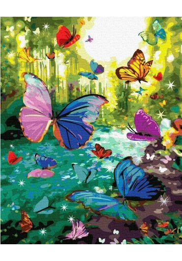 Set Picturi pe numere, Acuarello, 40X50 cm - Butterflies
