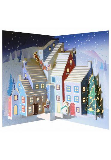 Felicitare Christmas Snowmen & Santa Pop Up