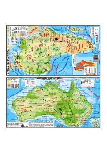 Plansa - Harta Africa - Australia Pliata