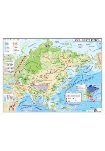 Harta fizica + politica Asia plastifiata A3